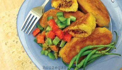 کتلت شکم پر سیب زمینی,کتلت شکم پر با قارچ,طرز تهیهکتلت شکم پر