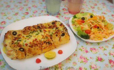 طرز تهیه رولت پیتزا,رولت پیتزا بدون فر,رولت پیتزا با خمیر یوفکا