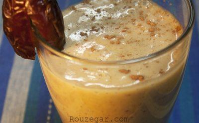 میلک شیک نارگیل,طرز تهیه شیک نارگیل و خرما,دستور تهیهمیلک شیک نارگیل