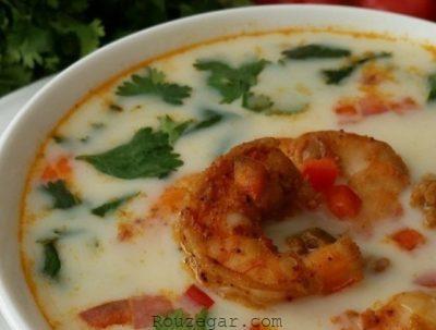 طرز تهیه سوپ میگو,سوپ میگو,سوپ میگو و قارچ,سوپ میگو با سبزیجات