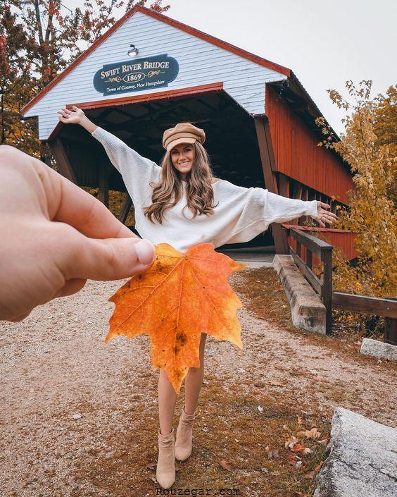 مدل عکس گرفتن با برگ درخت