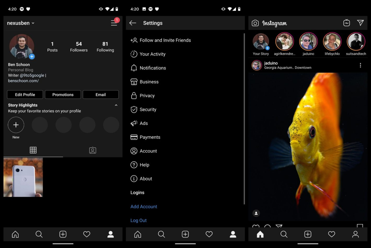 Image result for dark mode instagram