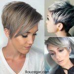 جدیدترین مدل مو کوتاه زنانه با رنگ نقره ای خاکستری 2017 – 96