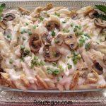 پاستا با مرغ + طرز تهیه پاستا با سس قارچ