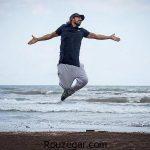 تیپ متفاوت امیر عباس گلاب در ساحل + عکس