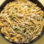 پاستا مرغ و قارچ در فر + طرز تهیه پاستا مرغ و قارچ با سس سفید