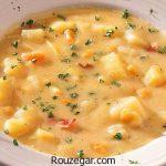 آموزش مرحله به مرحله طرز تهیه سوپ سیب زمینی با قارچ و هویج