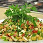 آموزش طرز تهیه سالاد پنیر قالبی کبابی موزارلا با سبزیجات خوشمزه