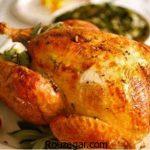مرغ شکم پر مجلسی + طرز تهیه مرغ شکم پر خوشمزه شمالی در فر