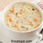 سوپ جو و قارچ + طرز تهیه سوپ جو با خامه رستورانی خوشمزه